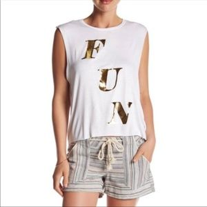 PST by Project Social fun gold print tank top Musc